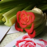 Use celery to stamp a rose print!